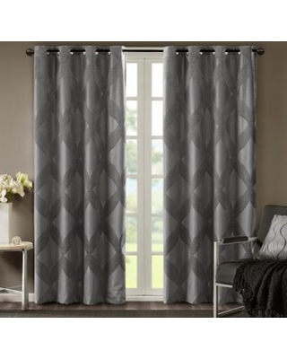 SunSmart Abel Ogee Knitted Jacquard Total Blackout Curtain, Grey, 50X84