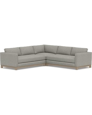 Jake Upholstered 3-Piece L-Shaped Corner Sectional with Wood Legs, Polyester Wrapped Cushions, Premium Performance Basketweave Light Gray