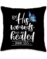 Inspirational Christian Scripture Tees Isaiah 53:5-by His Wounds We are Healed Butterfly Scripture Throw Pillow, 16x16, Multicolor