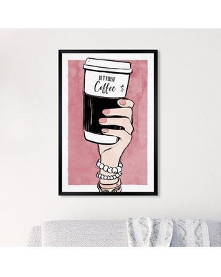 """House of Hampton 'Coffee to Go' Acrylic Painting Print W000573954 Size: 26"""" H x 18"""" W x 0.5"""" D Format: Black Framed Paper"""