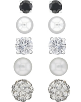 Button Earrings Sterling Cubic Zirconia/Crystal and Pearl - 5pk - Silver/White/Black