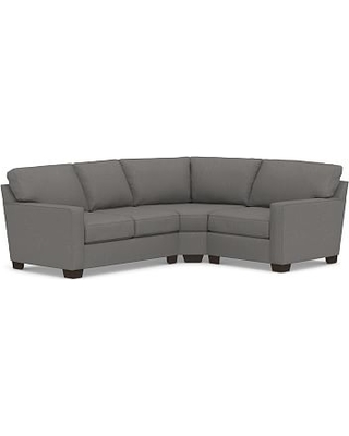 Buchanan Square Arm Upholstered Left Arm 3-Piece Wedge Sectional, Polyester Wrapped Cushions, Performance Brushed Basketweave Slate