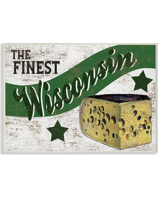 """Stupell Industries 12.5 in. x 18.5 in. """"Rustic Americana Star Crate Finest Cheese Wisconsin State"""" by Artist Daphne Polselli Wood Wall Art, Multi-"""