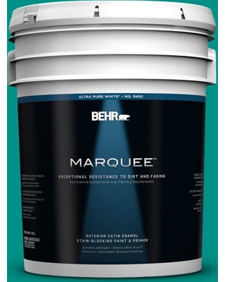 BEHR MARQUEE 5 gal. #490B-6 Emerald Coast Satin Enamel Exterior Paint and Primer in One