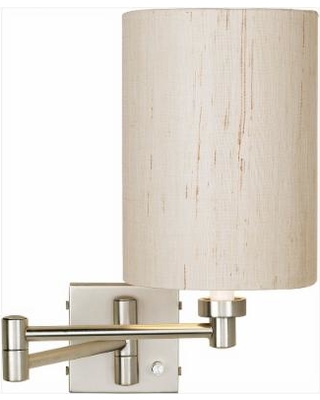 Brushed Nickel Ivory Cylinder Plug-In Swing Arm Wall Lamp