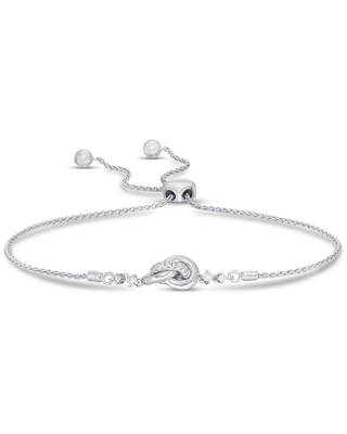 Jared The Galleria Of Jewelry Diamond Knot Bolo Bracelet 1/5 ct tw Round-cut Sterling Silver