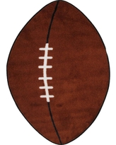 Fun Time Shape Football Brown and White 2 ft. x 4 ft. Area Rug, Brown/White