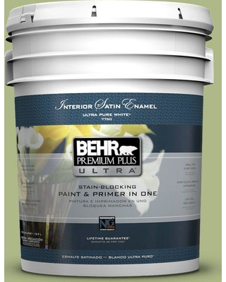 BEHR ULTRA 5 gal. #PPU10-07 Lima Green Satin Enamel Interior Paint and Primer in One