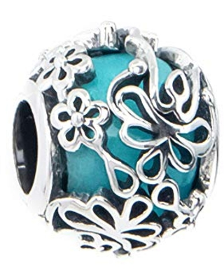Turquoise Teal Blue Murano Glass & Sterling Silver Flower Charm Bead S925, Blue Glass Silver Flower Charm Bead pendant, Princess Cinderella charm Jewelry, Floral Charm Jewellery Pandora compatible