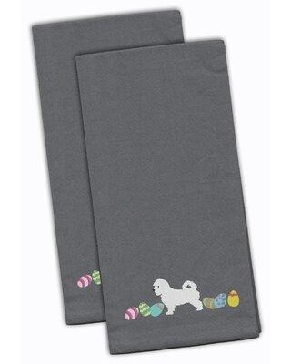 """The Holiday Aisle® Maltese Easter Embroidered Kitchen Tea Towel, Cotton in White, Size 28"""" H x 19"""" W x 0.1"""" D 