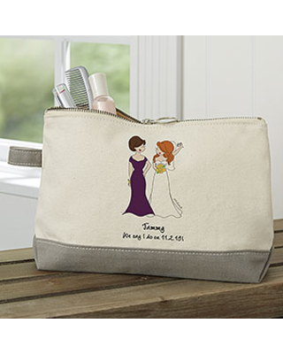 philoSophie's Bridal Party Personalized Grey Makeup Bag