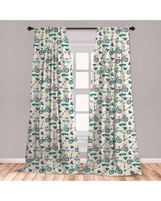 Big Savings For East Urban Home Ambesonne Sport Curtains Bicycles Skates Boards Wheeled Physical Activity Equipment Lifestyle Pattern Window Treatments 2 Panel Set For Living Room Bedroom Decor 56 X 63 Blue