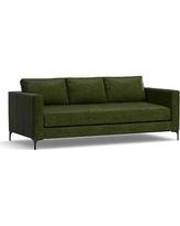"Jake Leather Sofa 85"", Down Blend Wrapped Cushions, Leather Legacy Forest Green"