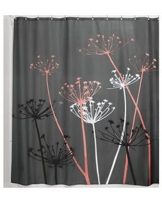 Wunsch Floral Single Shower Curtain Ebern Designs Color: Gray/Coral