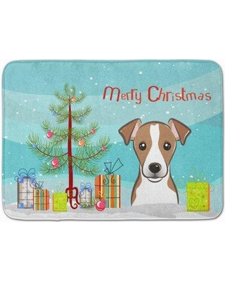 The Holiday Aisle Christmas Tree and Jack Russell Terrier Memory Foam Bath Rug THLA4981 Color: White/Brown
