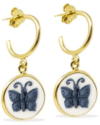 Vintouch Italy - Butterfly Cameo Mini Hoop Earrings