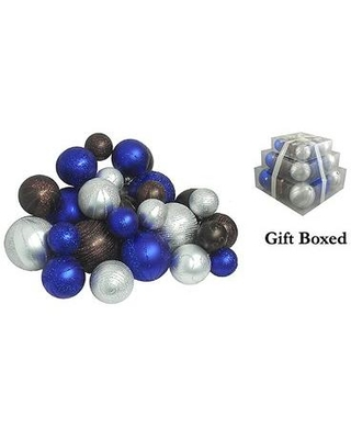 Northlight Seasonal Shatterproof Christmas Ball Ornament 1817 Color: Blue Chocolate/Silver