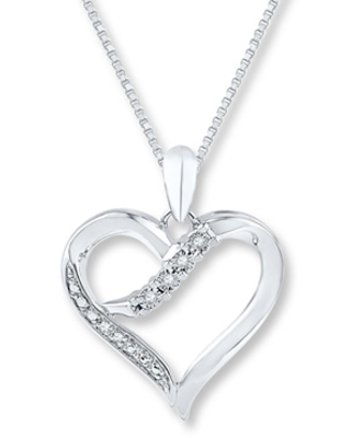 5cc497500 Spectacular Deals on Heart Necklace Diamond Accents Sterling Silver