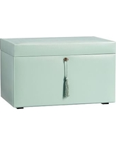 McKenna Leather Jewelry Armoire, Porcelain Blue