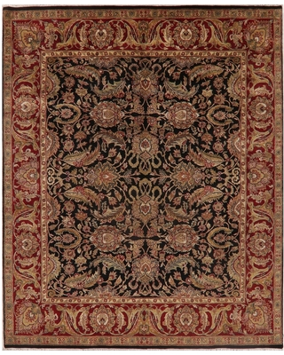 """Agra Oriental Hand Knotted Wool Carpet Indian Traditional Area Rug - 9'11"""" X 8'2"""" (9'11"""" X 8'2"""" - Black)"""