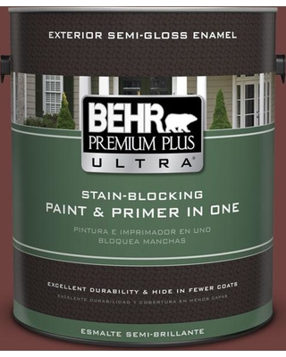 BEHR ULTRA 1 gal. #ICC-82 Library Red Semi-Gloss Enamel Exterior Paint and Primer in One