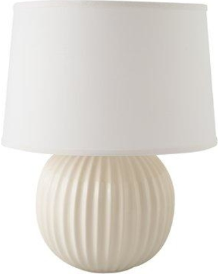 "Highland Dunes Erichsen Fluted Round 21"" Table Lamp HIDN6172 Base Color: Gloss White"