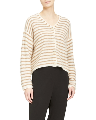 Theory Stripe Box Cashmere Cardigan, Size Medium in Ivory/camel at Nordstrom