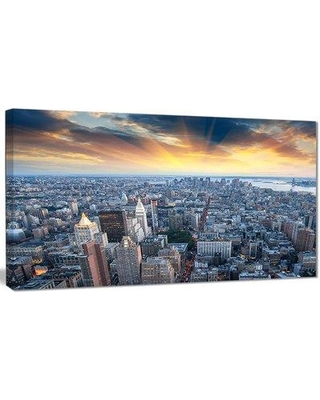 "Design Art 'Aerial View of NYC Skyscrapers' Photographic Print on Wrapped Canvas PT8336- Size: 16"" H x 32"" W x 1"" D"