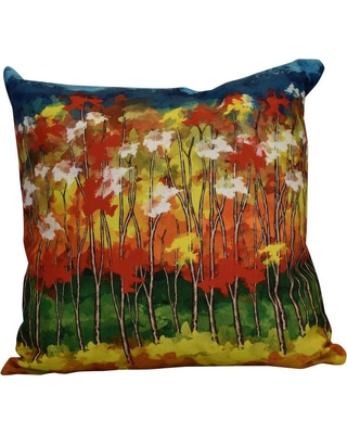 E BY DESIGN 16 in. x 16 in. Autumn, Floral Print Pillow, Red
