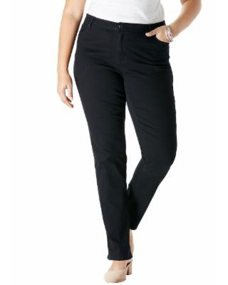 Plus Size Women's Straight-Leg Jean with Invisible Stretch by Denim 24/7 in Black Denim (Size 14 T)