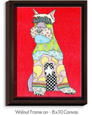 """DiaNocheDesigns 'Schnauzer' by Marley Ungaro Painting Print on Wrapped Framed Canvas DNOC1993 Size: 17.75"""" H x 13.75"""" W x 1.75"""" D Frame Color: Walnut"""
