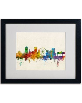 "Trademark Art 'Brighton England Skyline' by Michael Tompsett Framed Graphic Art MT0468-B1114MF / MT0468-B1620MF Size: 16"" H x 20"" W Frame Color: Brown"