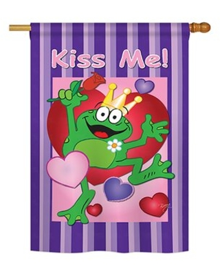 New Deal On 2 Piece Kiss Me Frog Spring Valentines Impressions Decorative Vertical 2 Sided Polyester Flag Set Breeze Decor