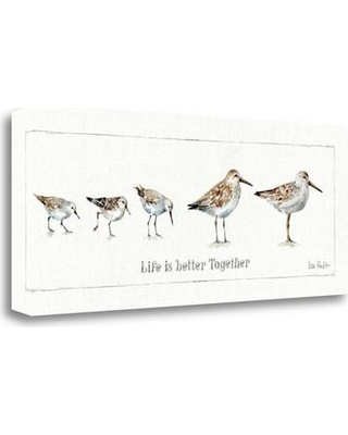 Tangletown Fine Art 'Pebbles and Sandpipers I' Graphic Art Print on Wrapped Canvas WA617004-2812c Size: 13'' H x 32'' W