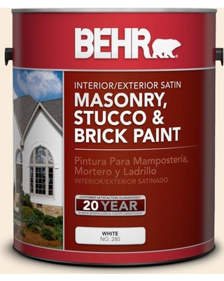 BEHR 1 gal. #70 Linen White Satin Interior/Exterior Masonry, Stucco and Brick Paint