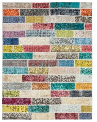 """One-of-a-Kind Kameko Hand-Knotted 2010s Patchwork Red/Yellow/Ivory 4'10"""" x 6'4"""" Wool Area Rug"""
