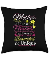 Funny Sayings And Mother's Day Designs Like A Flower-Saying Mom-Mother's Day Throw Pillow, 18x18, Multicolor