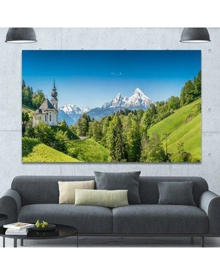 """Design Art 'Green Mountain View of Bavarian Alps' Photographic Print on Wrapped Canvas PT15334- Size: 40"""" H x 60"""" W x 1.5"""" D"""