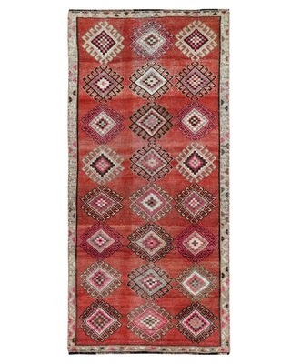 """One-of-a-Kind Jahgeer Hand-Knotted 1960s 3'7"""" x 7'9"""" Runner Wool Area Rug in Red Isabelline"""