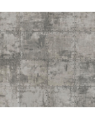 Special Prices On Norwall Steel Tile Vinyl Strippable Roll Wallpaper Covers 56 Sq Ft Metallic Silver Brown Black