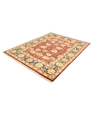 """One-of-a-Kind Bletsoe Hand-Knotted 2010s Sarough Beige/Red 8'10"""" x 11'10"""" Wool Area Rug"""