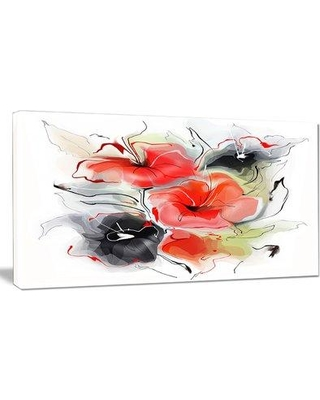 "Design Art 'Red Black Abstract Floral Design' Painting Print on Wrapped Canvas PT14982- Size: 16"" H x 32"" W x 1"" D"