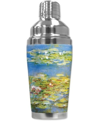 """Mugzie """"Monet: Water Lilies"""" Cocktail Shaker with Insulated Wetsuit Cover, 16 oz, Black"""