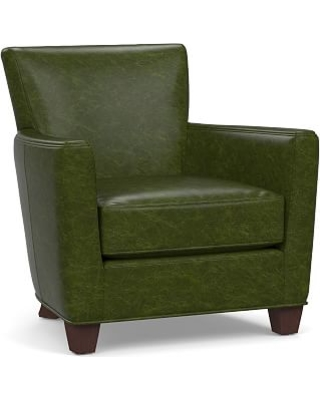 Irving Square Arm Leather Armchair, Polyester Wrapped Cushions, Legacy Forest Green
