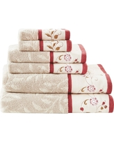 Monroe Embroidered Cotton 6pc Bath Towel Set Red (27x52)