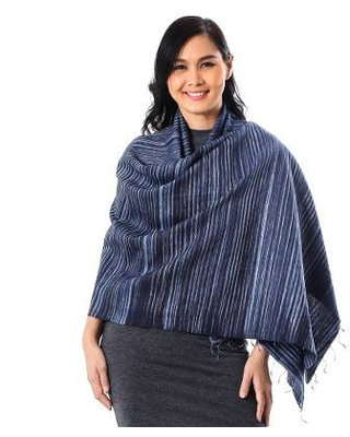 Striped Silk and Cotton Blend Shawl in Blue from Thailand