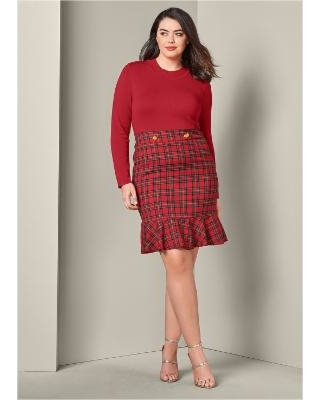 """Plus Size Plaid Detail Sweater Dress Dresses - RED"""
