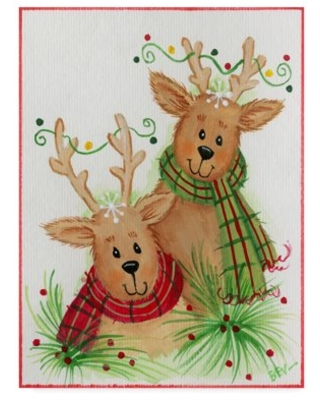 Trademark Fine Art 'Reindeer With Scarves' Canvas Art by Beverly Johnston