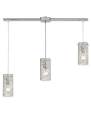 ELK Lighting 3-Light Ice Fragments Tiered Pendant in Satin Nickel with Clear Glass Shades