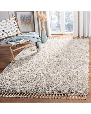 SAFAVIEH Pro Luxe Shag Collection PLX434F Moroccan Boho Tassel Non-Shedding Living Room Bedroom Dining Room Entryway Plush 2.4-inch Thick Area Rug, 3' x 5', Grey / Cream